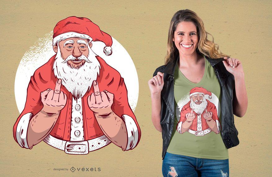Diseño de camiseta del dedo medio de santa