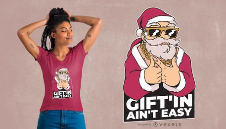 Design de t-shirt de gangster do Papai Noel