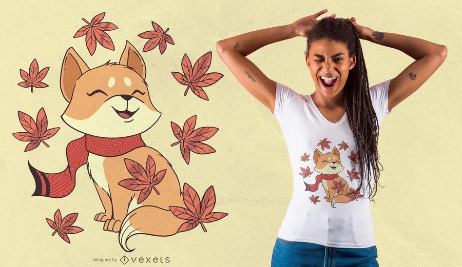 Diseño de camiseta de gato de otoño