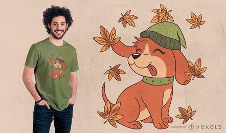 Diseño de camiseta de perro de otoño