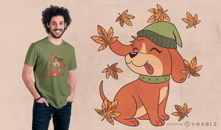 Design de camiseta para cachorro no outono