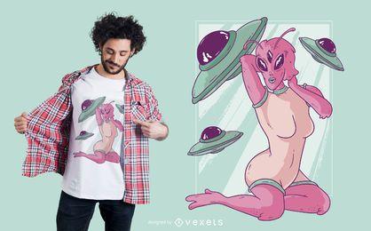 Diseño de camiseta alienígena de chica pin-up