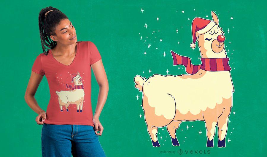 Design de t-shirt de alpaca de Natal