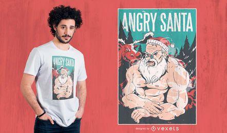 Diseño de camiseta de santa enojado