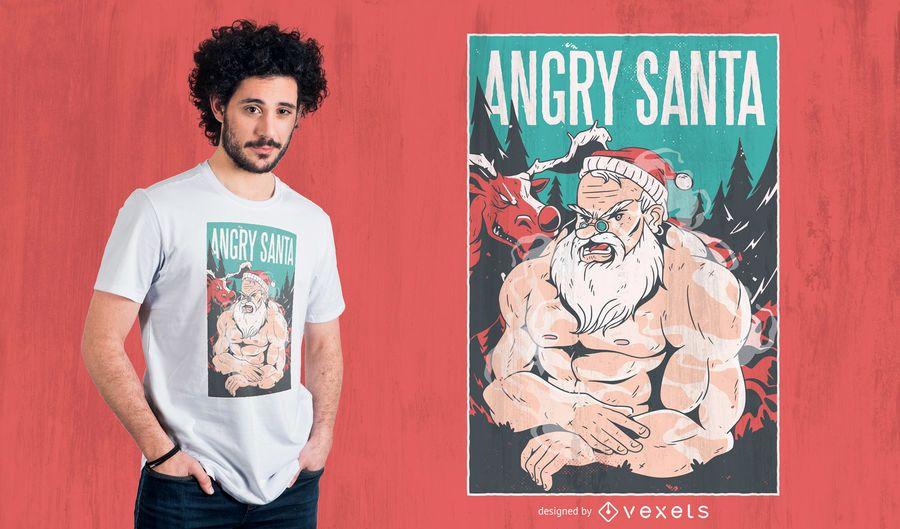 Diseño enojado de la camiseta de santa