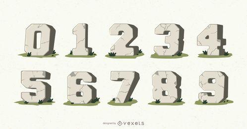 Conjunto de vectores de números de piedra