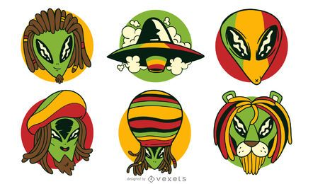 Alien reggae vector set