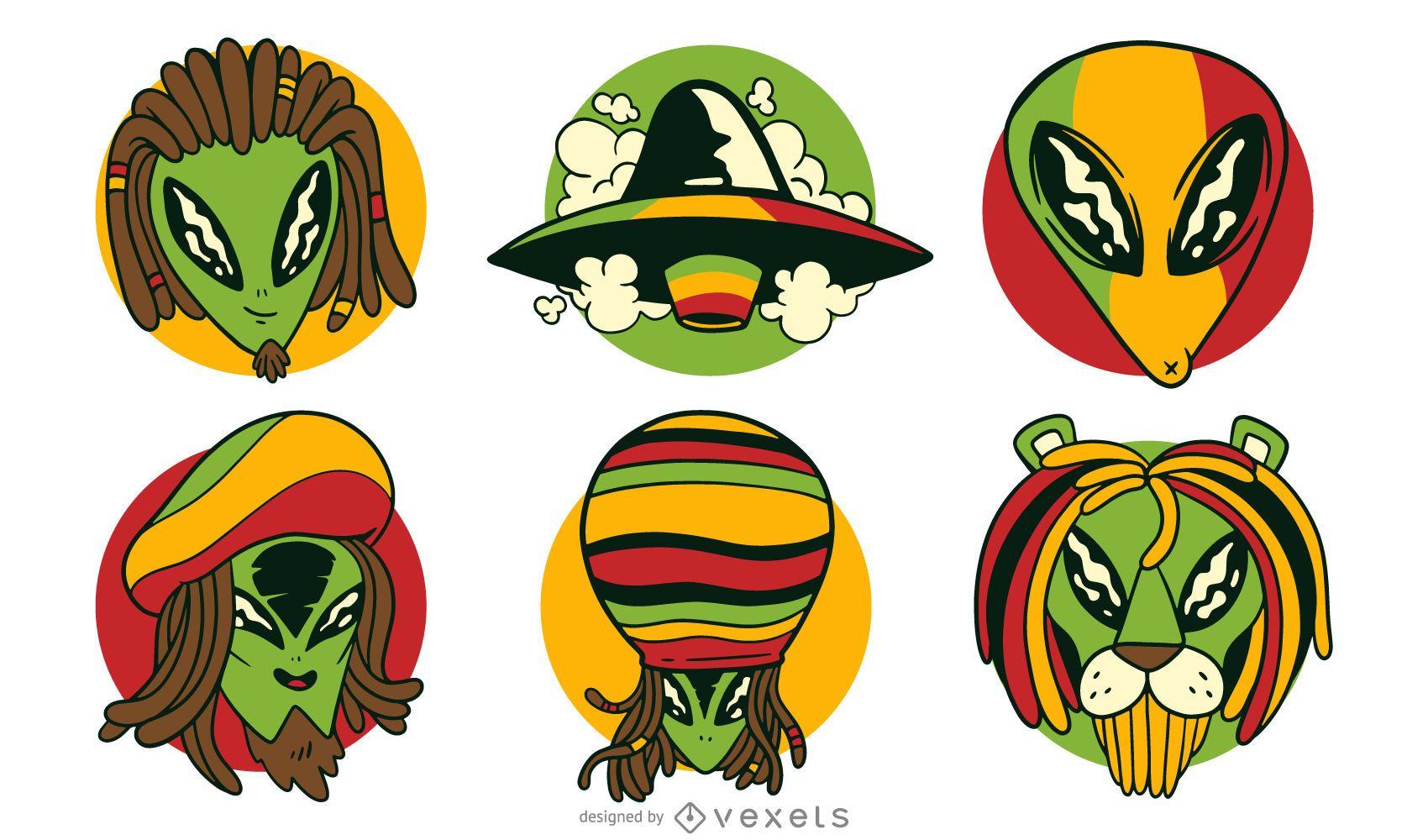Alien reggae vector set