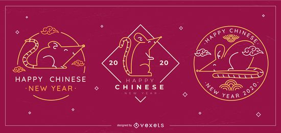 Chinese new year editable badges set