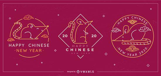 Conjunto de emblemas editáveis do ano novo chinês