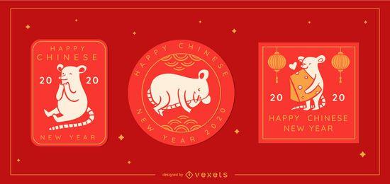 Emblemas editáveis de ano novo chinês bonito