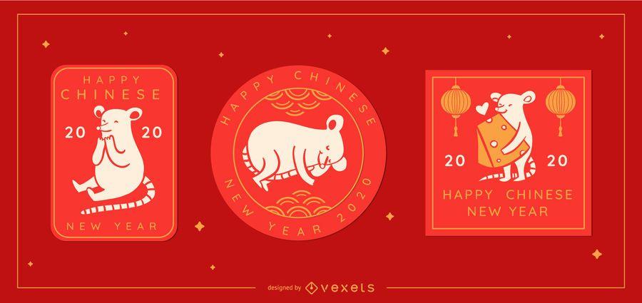 Niedliche chinesische bearbeitbare Abzeichen des neuen Jahres
