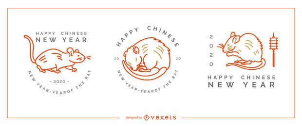 Ano novo chinês emblemas conjunto editável