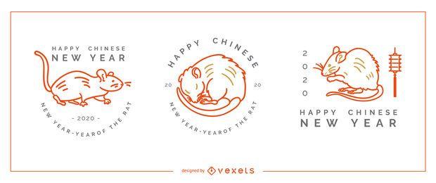 Conjunto editável de emblemas de ano novo chinês