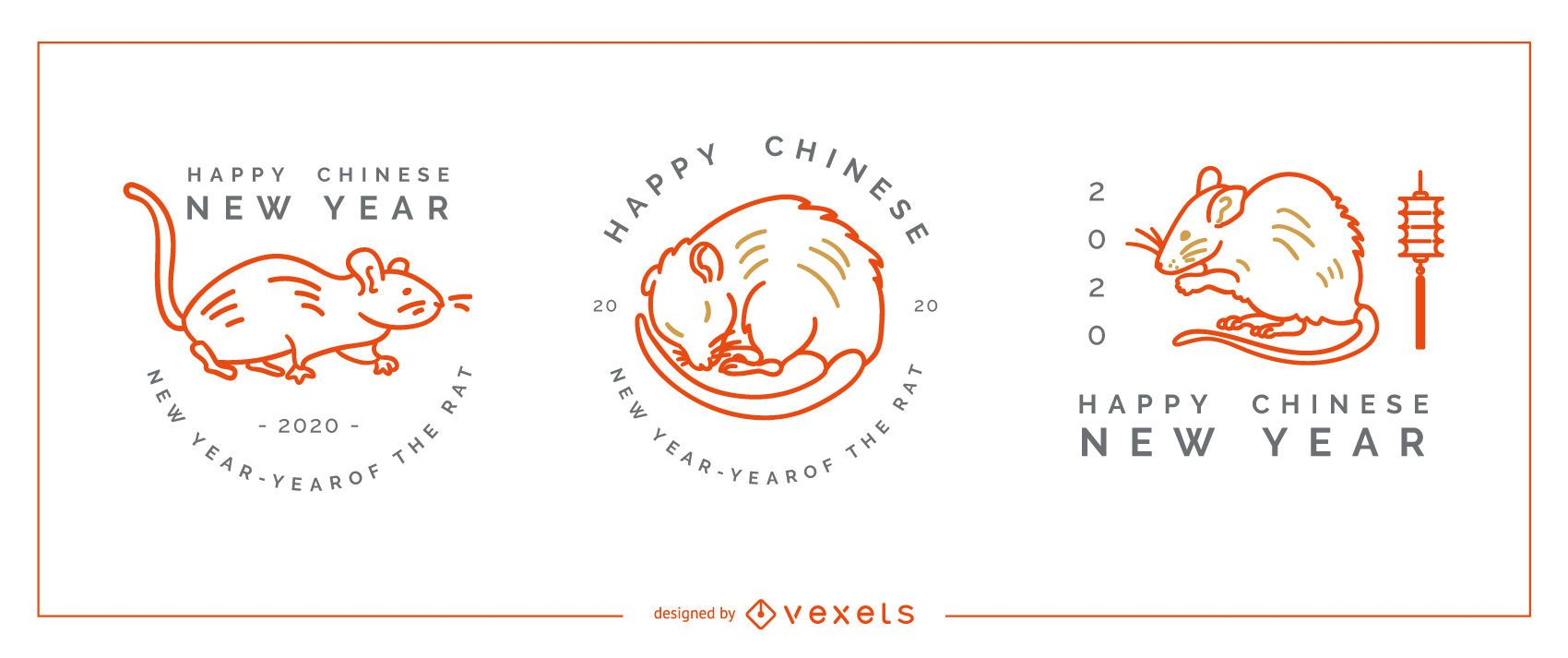 Chinese new year badges editable set