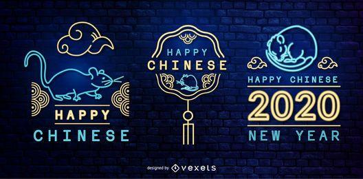 Conjunto de emblemas de néon do ano novo chinês