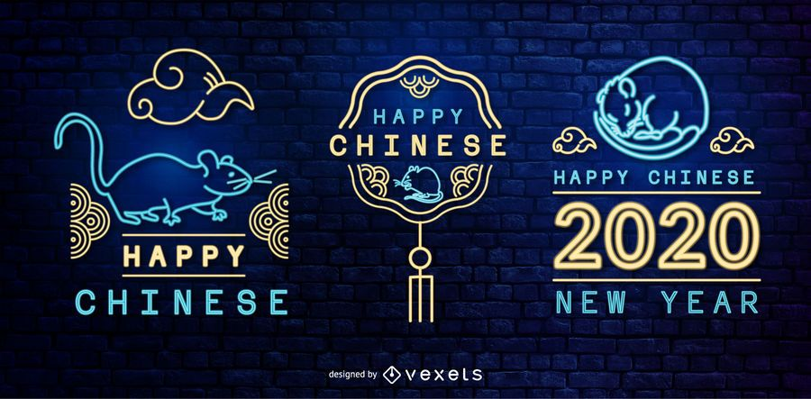 Chinese new year neon badges set