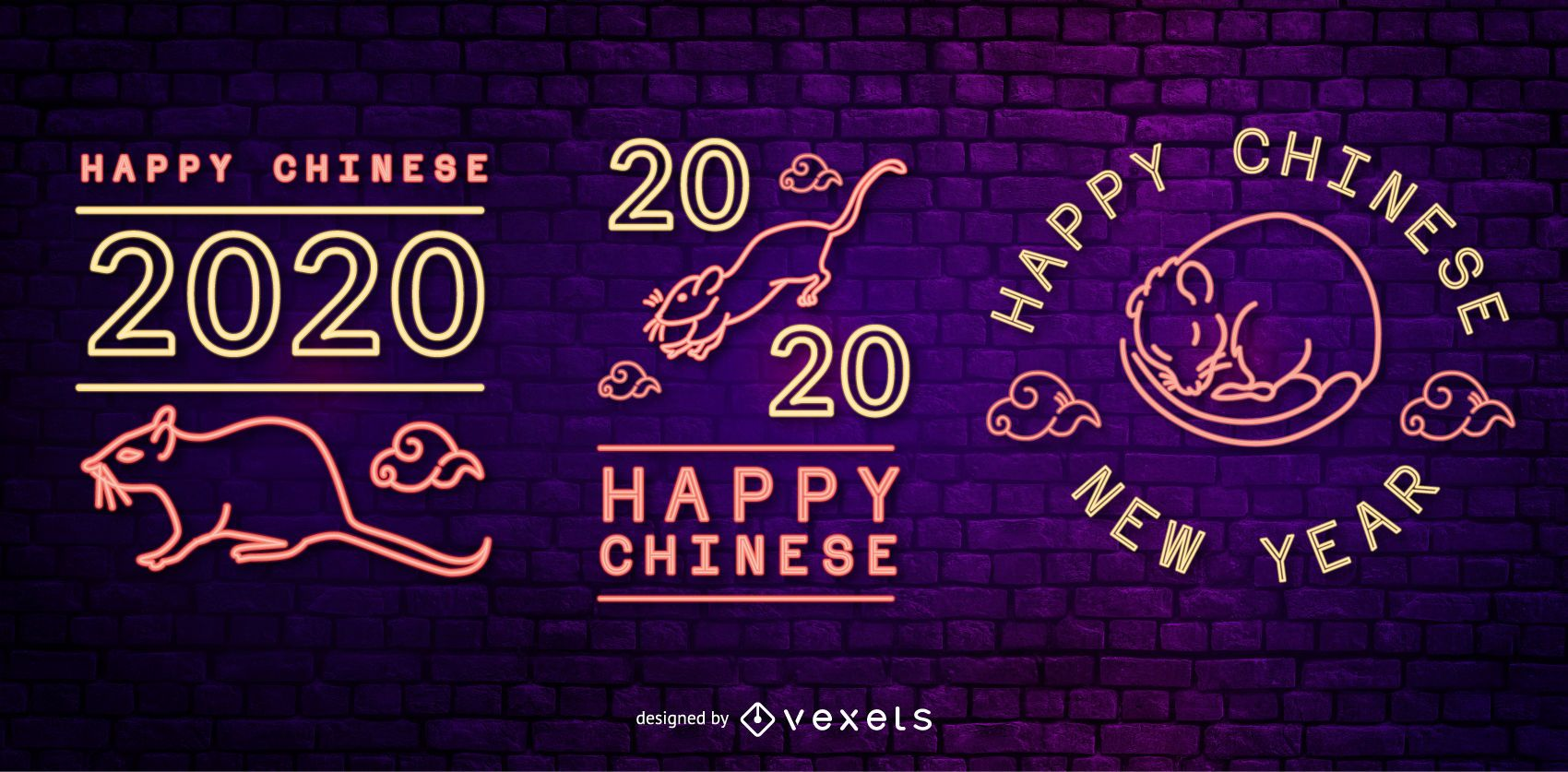 Chinese new year editable neon badges