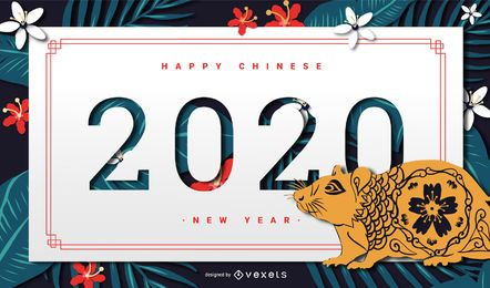 Bandeira do ano novo chinês 2020