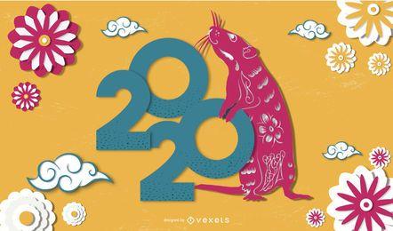 Banner recortado em papel do ano novo chinês de 2020