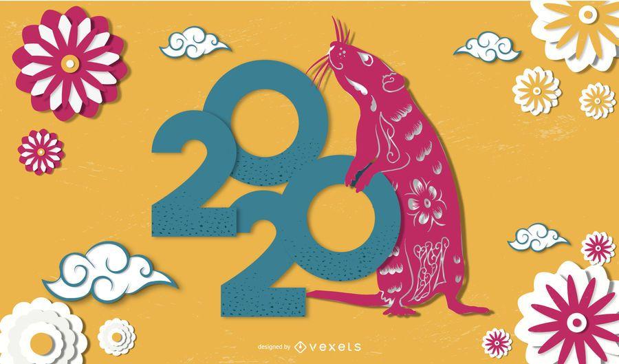 Banner de papercut del año nuevo chino 2020