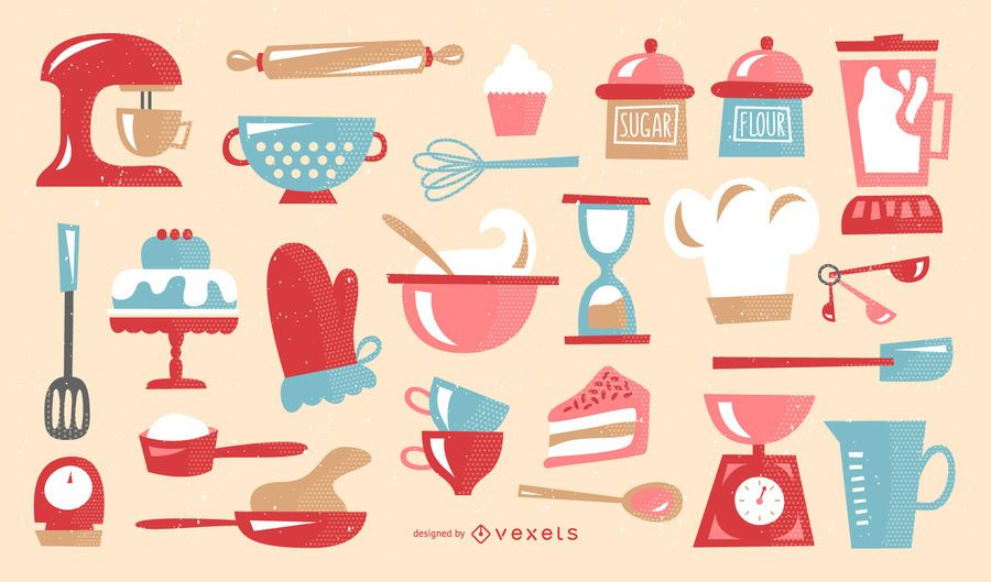 Baking illustrations retro collection