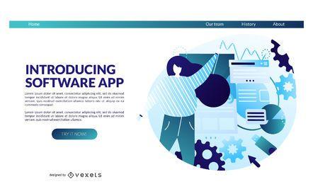 Modelo de página de destino do aplicativo de software