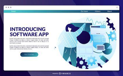 Plantilla de página de destino de la aplicación de software
