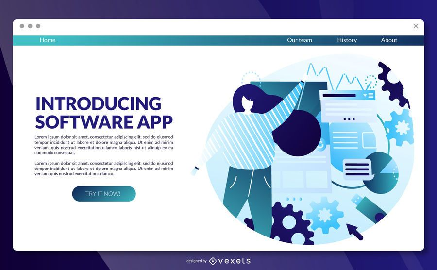 Software app landing page template