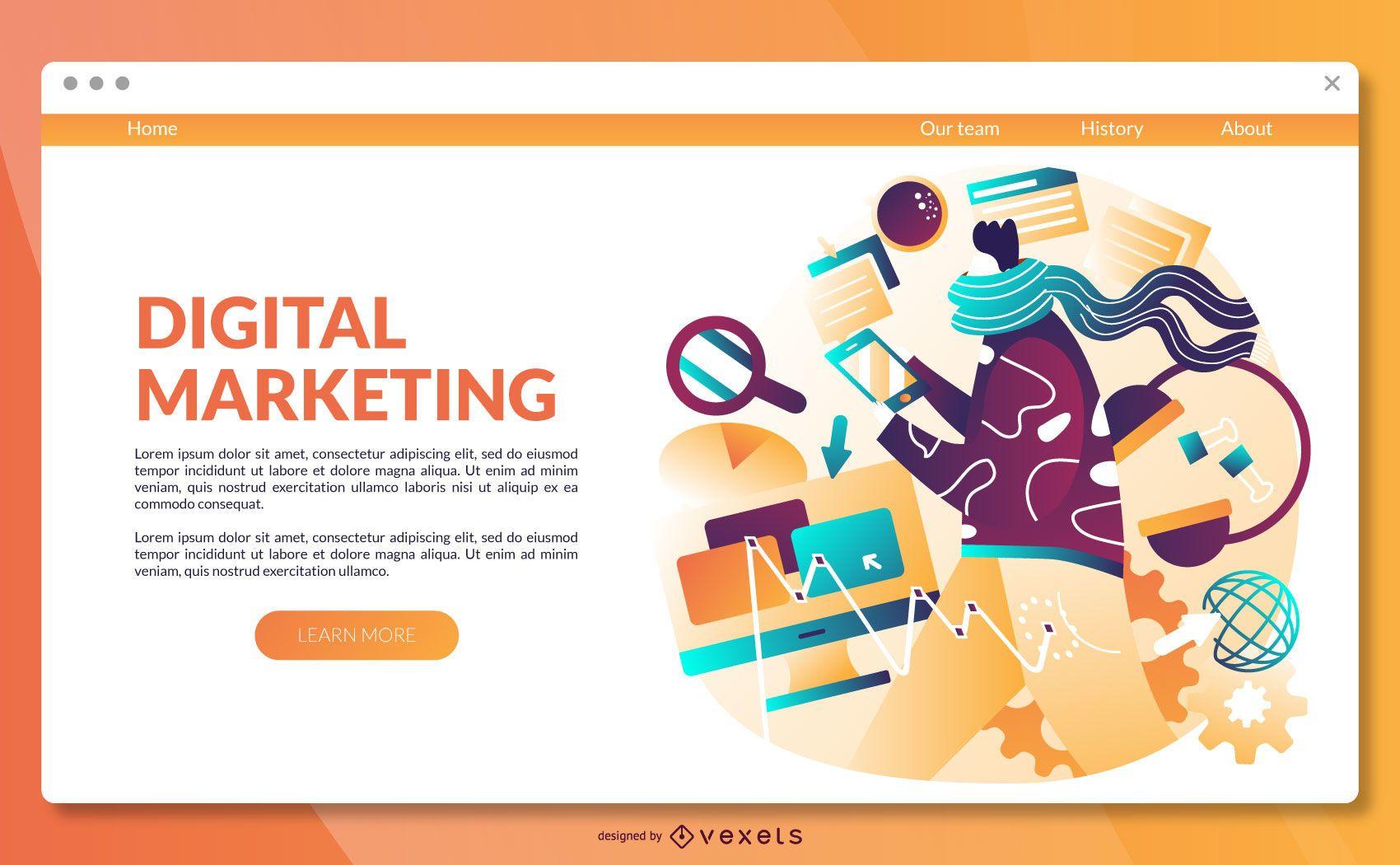 Plantilla de p?gina de destino de marketing digital