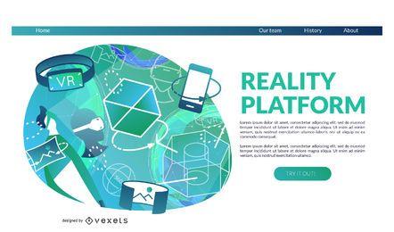 Modelo de página de destino da plataforma de realidade