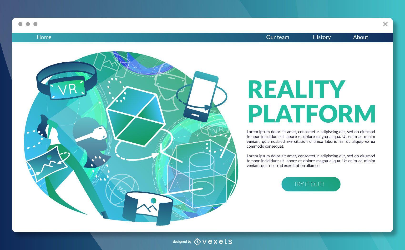Plantilla de página de destino de plataforma de realidad