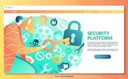 Modelo de página de destino da plataforma de segurança