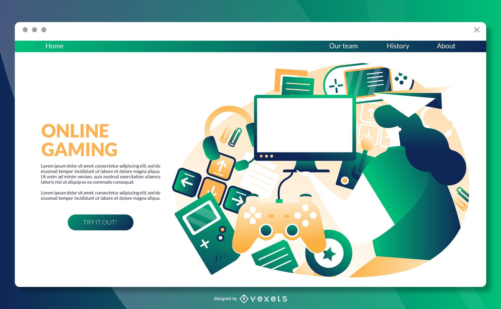 Online gaming landing page template