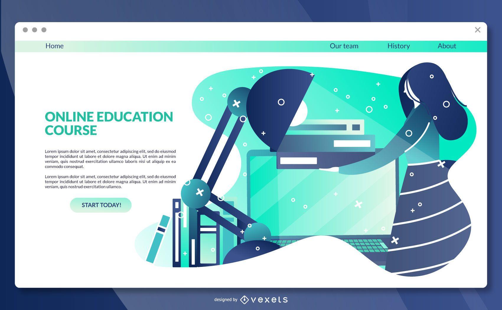 Modelo de página de destino de educação online