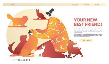 Plantilla de página de destino de adopción de mascotas