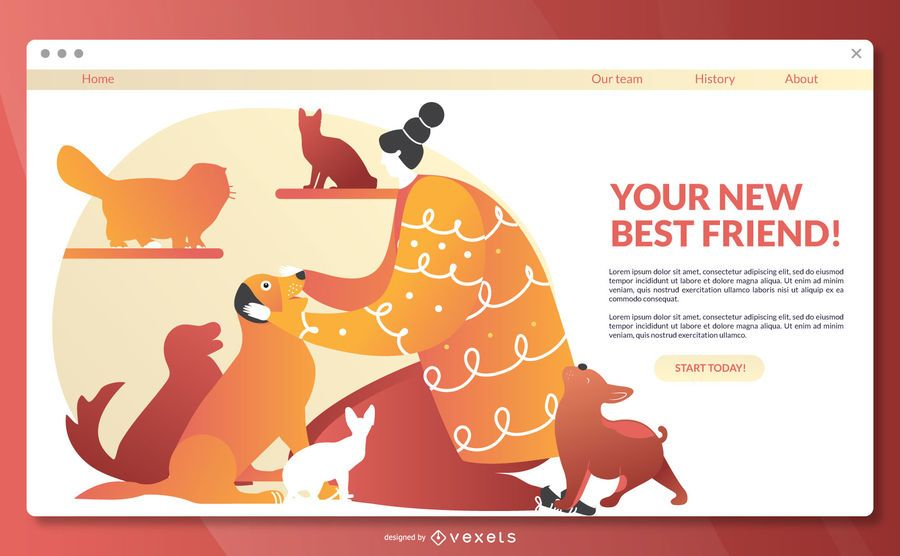 Modelo de página de destino de adoção de animais de estimação