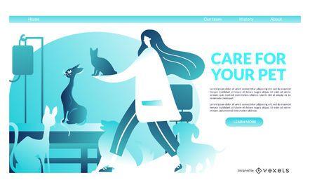 Plantilla de página de aterrizaje de veterinario