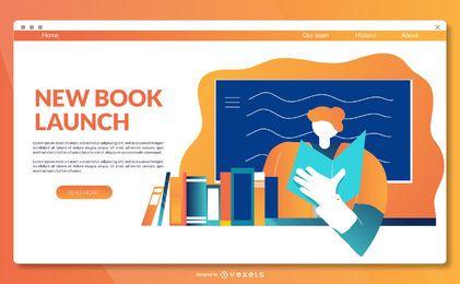 Modelo de página de destino do lançamento do livro