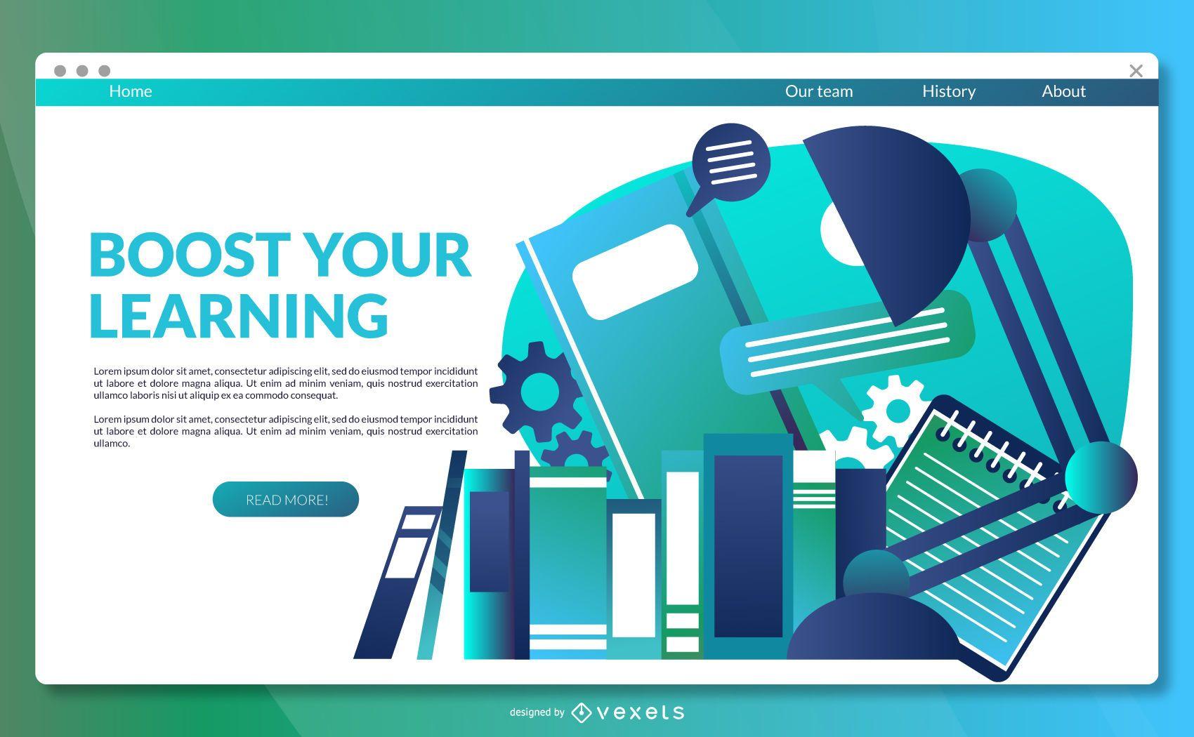 Modelo de página de destino de aprendizagem