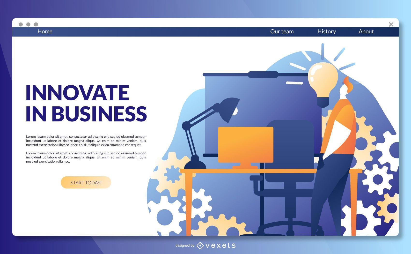 Plantilla de página de destino empresarial innovadora