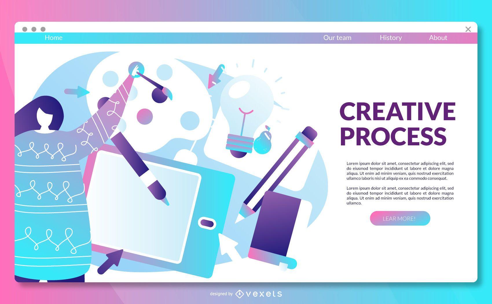 Plantilla de página de destino del proceso creativo