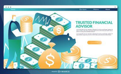 Modelo de página de destino do consultor financeiro