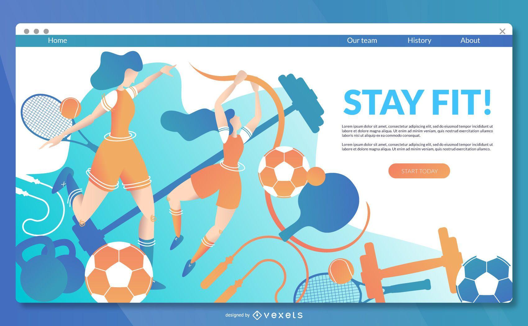 Plantilla de página de destino de deportes