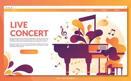 Live concert landing page template