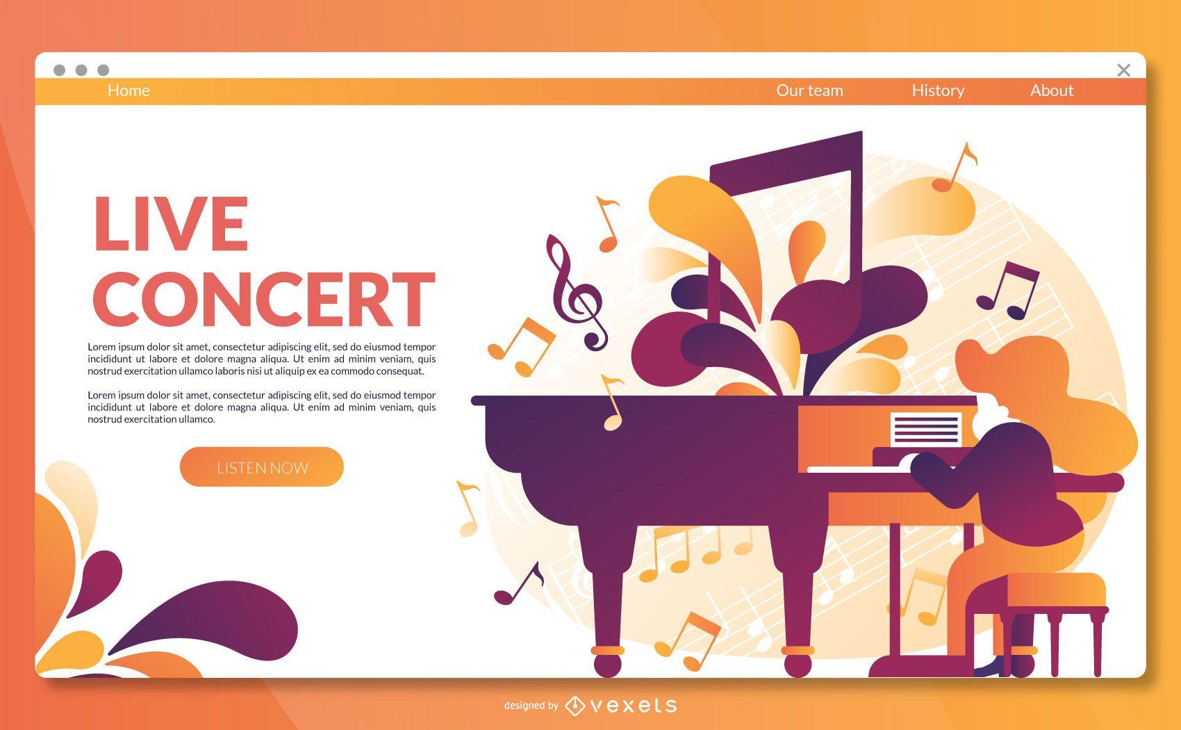 Live concert landing page template