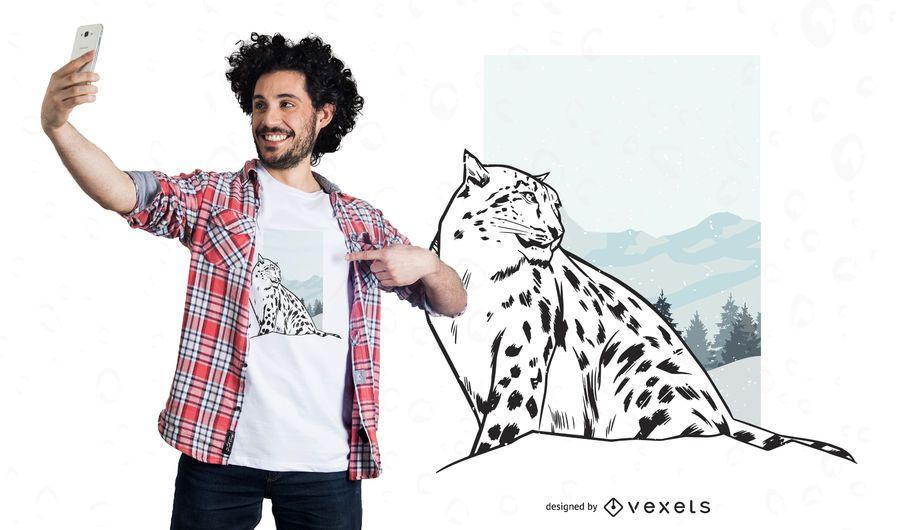 Diseño de camiseta de leopardo de las nieves