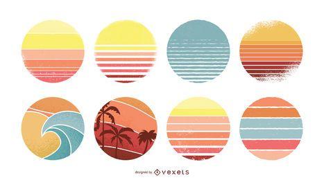 Conjunto de círculos por do sol vintage