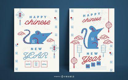 Pôster de feliz ano novo chinês
