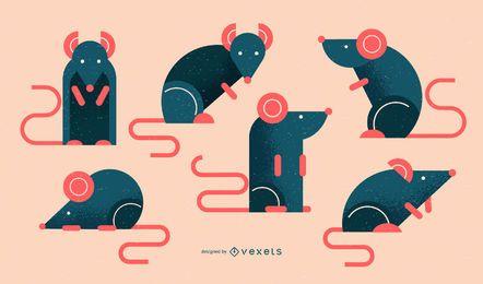 Conjunto de ilustração geométrica de ratos